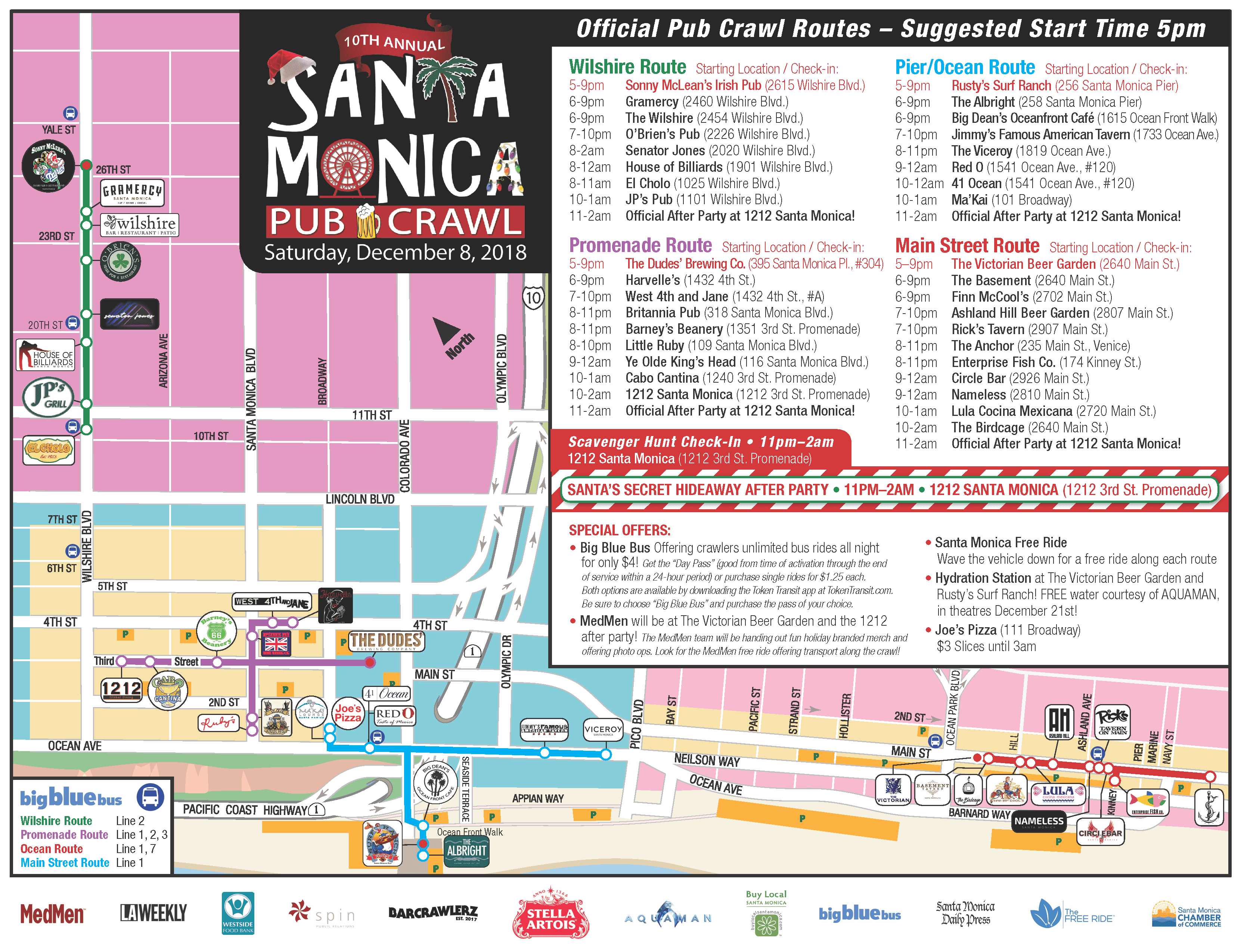 2018 Santa Monica Pub Crawl Map