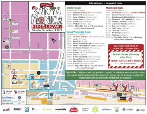 2019 Santa Monica Pub Crawl Map